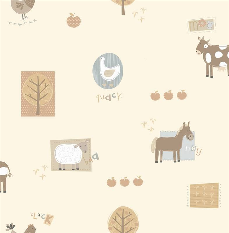 Beige   DL30718   Farm Animals   Farmyard Nursery   Hoopla Wallpaper 786x800
