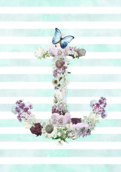 Floral Anchor Wallpaper Galaxy S4   wallpaper Pinterest 400x566