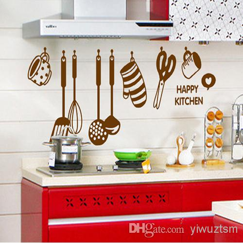 Solid Color Style Happy Kitchen Wallpaper Wall Decals Pvc Removable 500x500