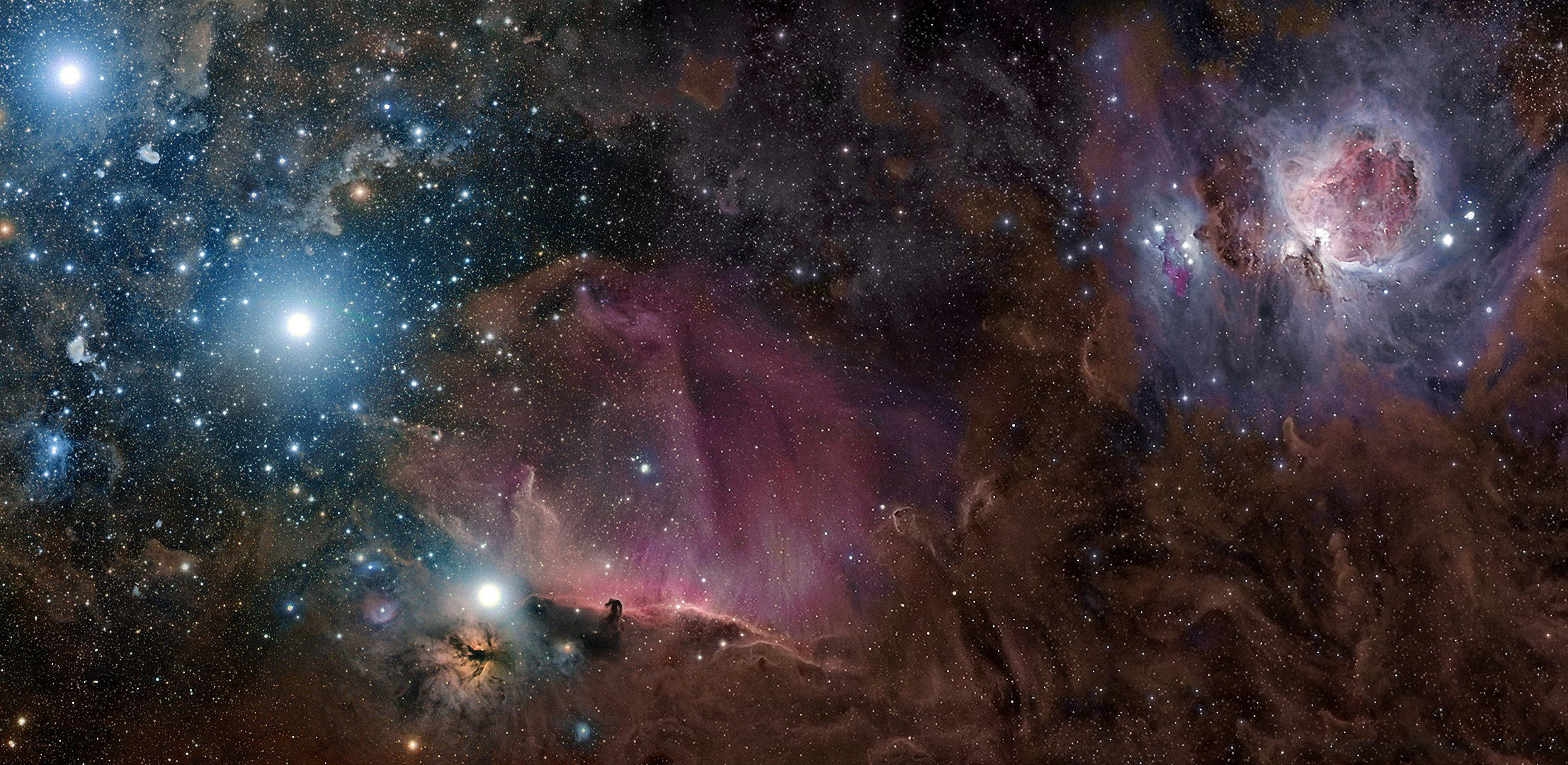 Orion constellation nebula m42 gas dust and stars wallpapers 2214x1080
