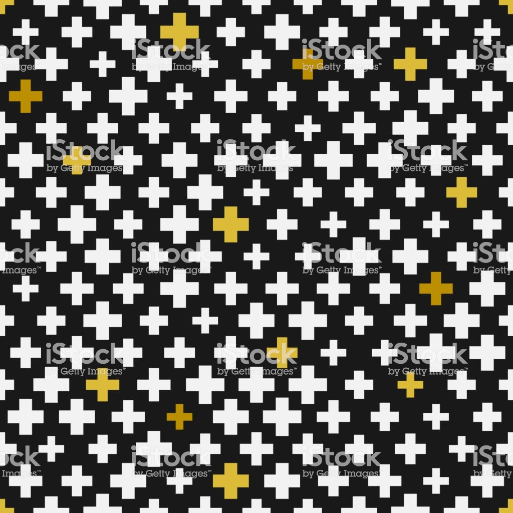 Black White Gold Geometric Plus Seamless Pattern Background 1024x1024