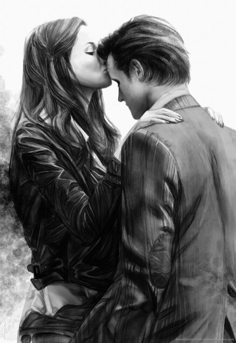 Download Amy Pond And The Doctor Kiss Screensaver For Amazon Kindle DX 824x1200