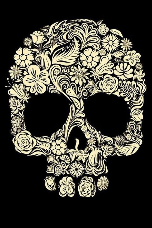Flower Sugar Skull iPhone 4 Wallpaper 640x960 640x960