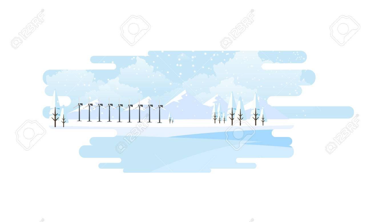 Paisaje De Invierno Eco Background Ilustracin Vectorial Plana 1300x778