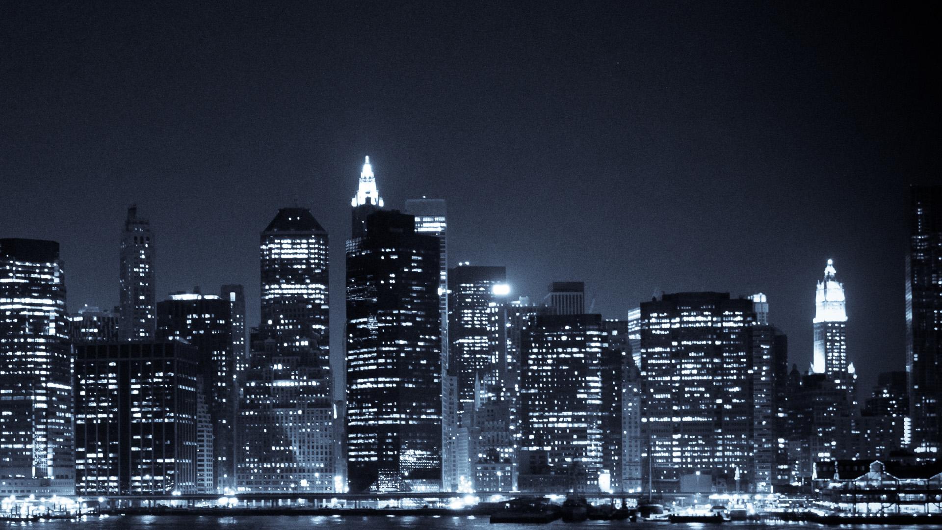 Manhattan skyline hd wallpaper wallpapersafari - Skyline night wallpaper ...