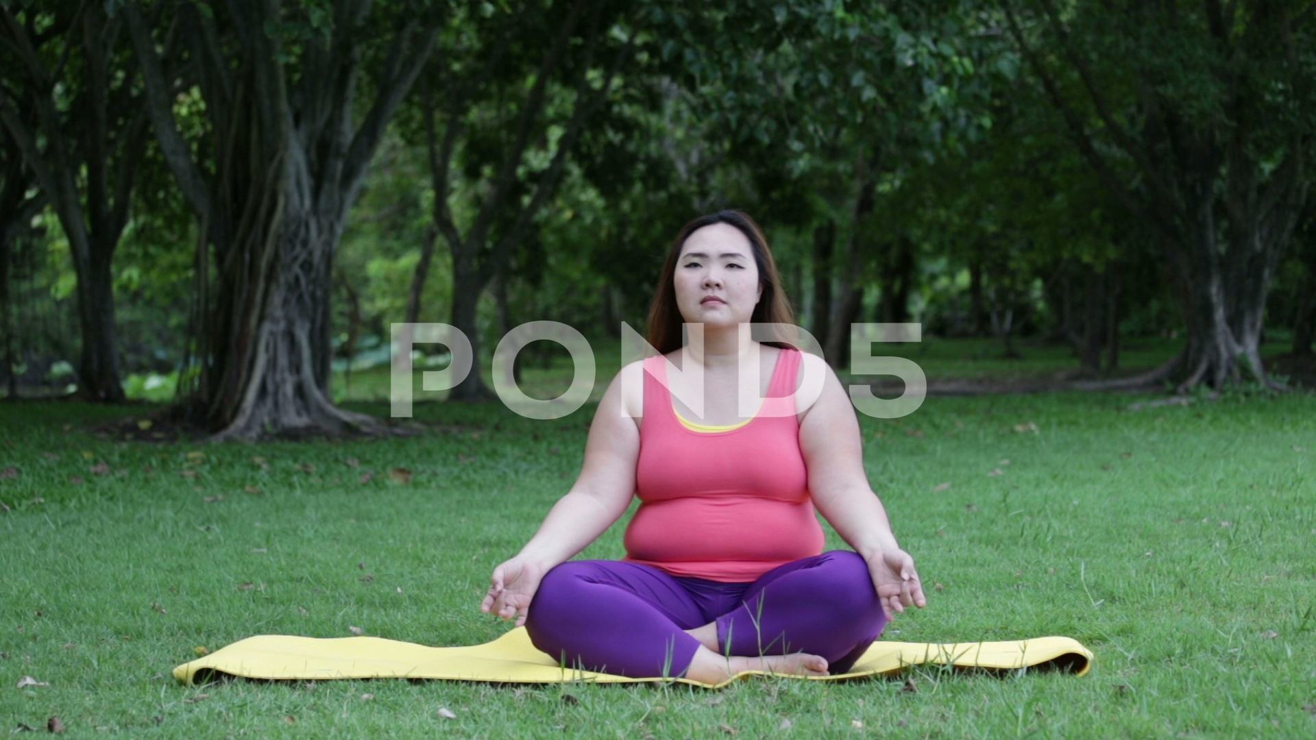 Beautiful fat woman doing yoga on the mat in the park Clip 1920x1080