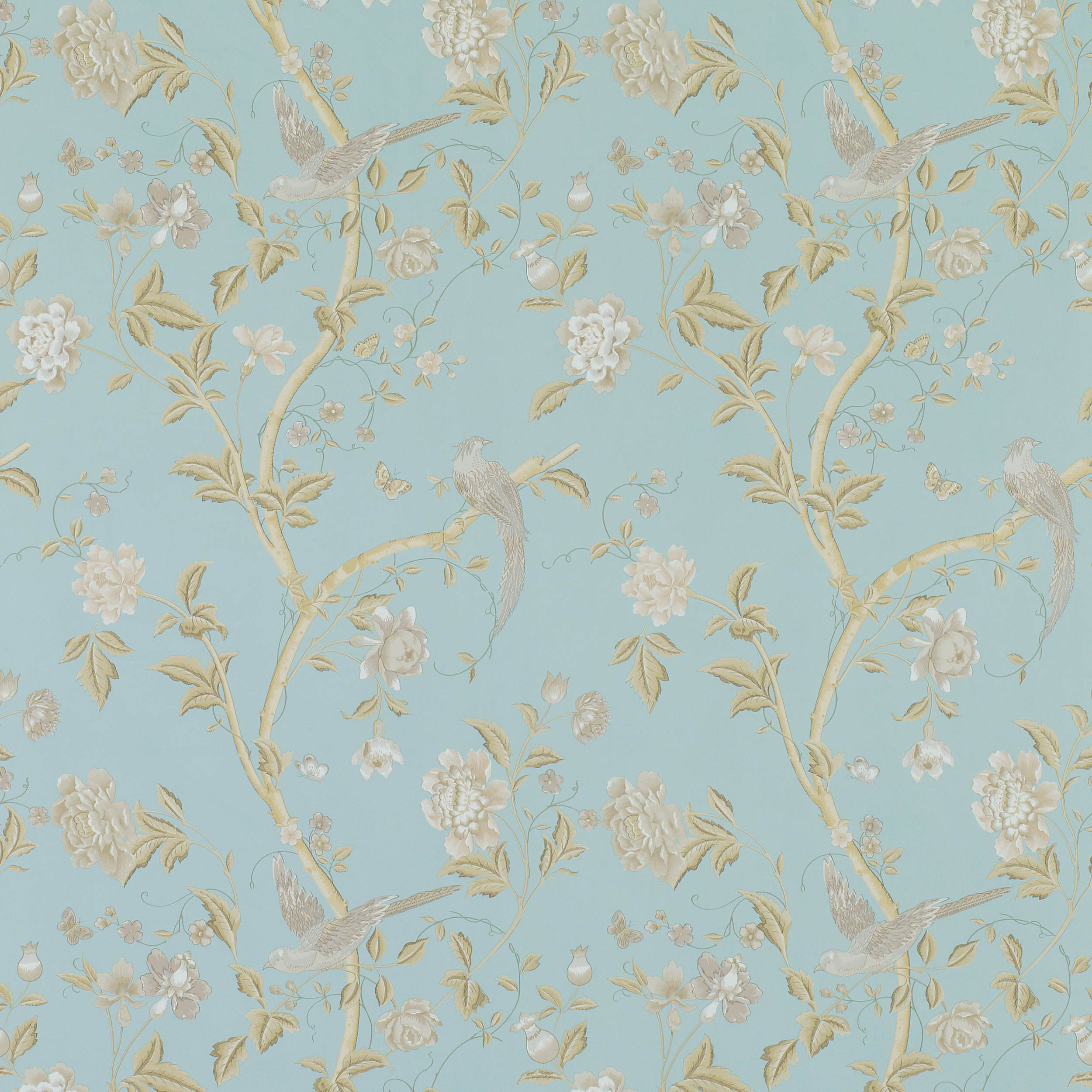 Decorating Wallpaper Summer Palace Powder Bue Floral 2500x2500