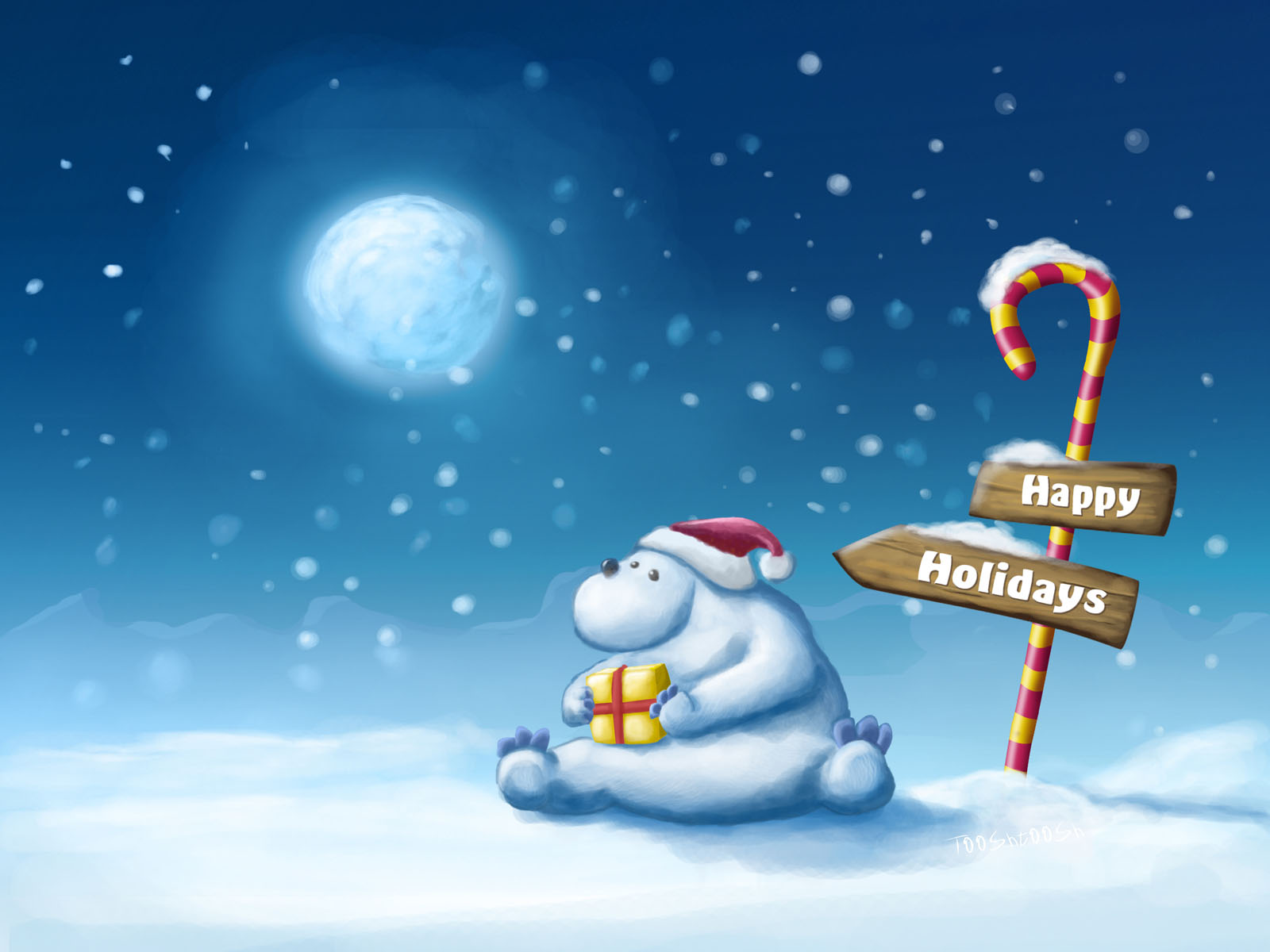 Wallpaper Includes a Cute and Emotional Bear Holding a Christmas 1600x1200