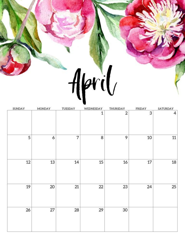Editable April 2020 Calendar Printable Template With Holidays 768x994