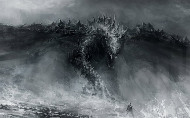 Category Fantasy Wallpapers Black And White Dragon Drawings 736x459