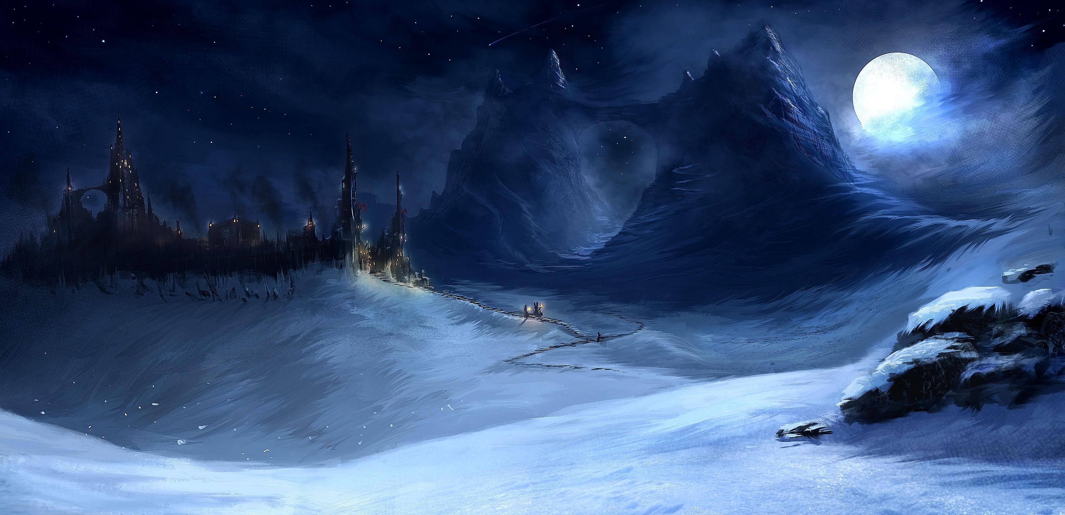 winter snow mountain moon - photo #48