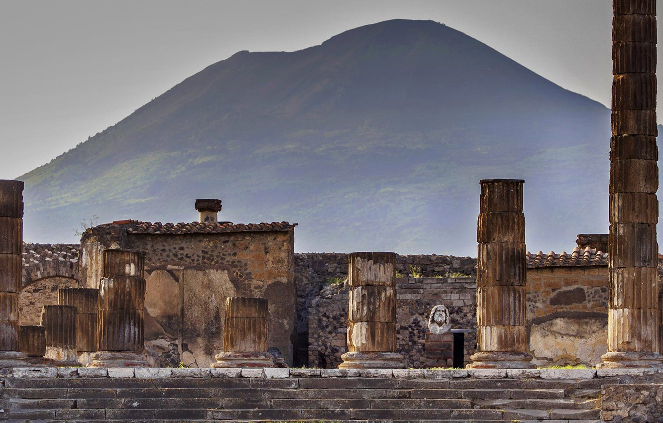 Wallpaper mountain Italy Vesuvius Pompeii excavations The 1332x850