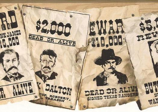 Old West Wanted Posters Wall Paper Border   Wallpaper Border 525x371