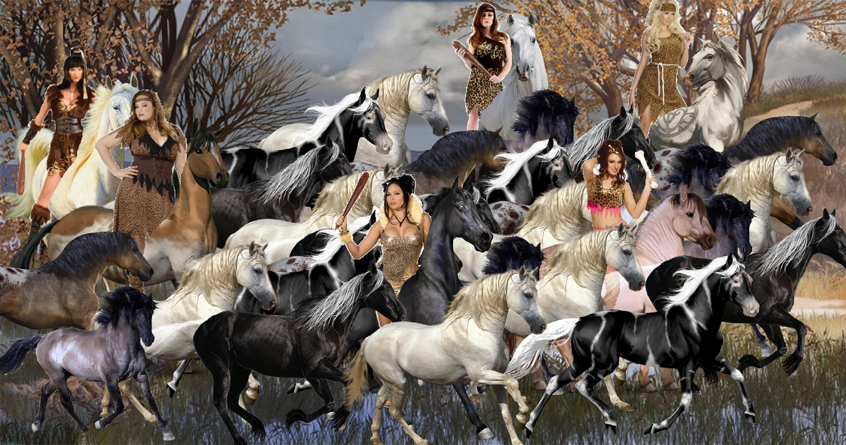 A Group of Hot Cavewomen taming a Large Herd of Wild Horses 1686x888