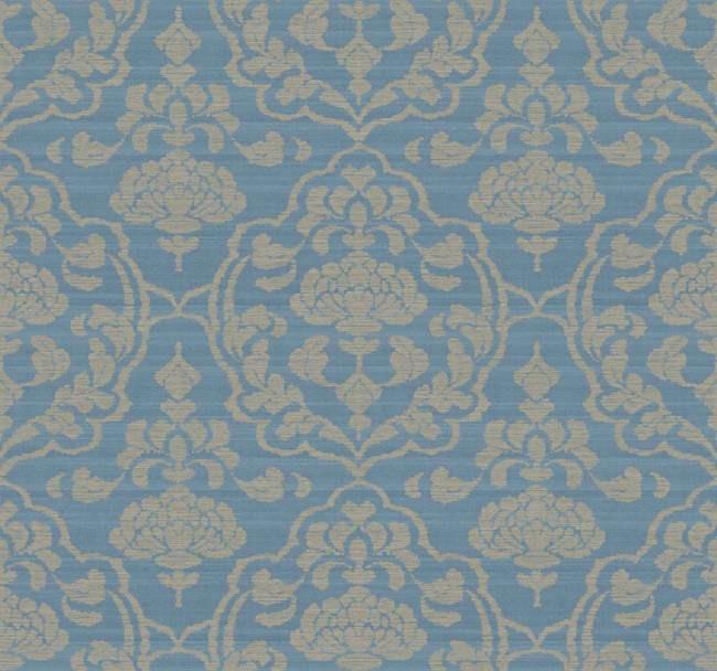 Interior Place   Blue Gold BD9156 Damask On Silk Wallpaper 2895 650x608