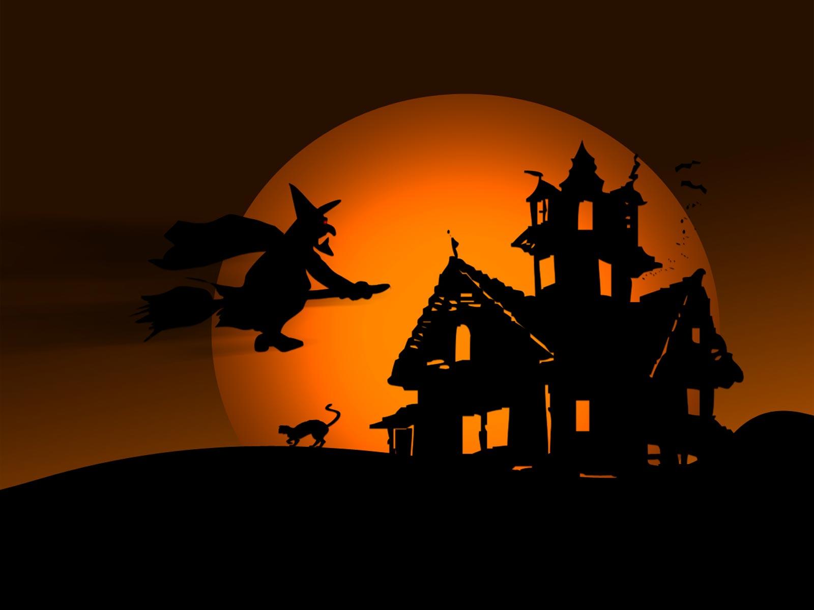 Flying Witch Halloween Desktop Wallpaper 1600x1200