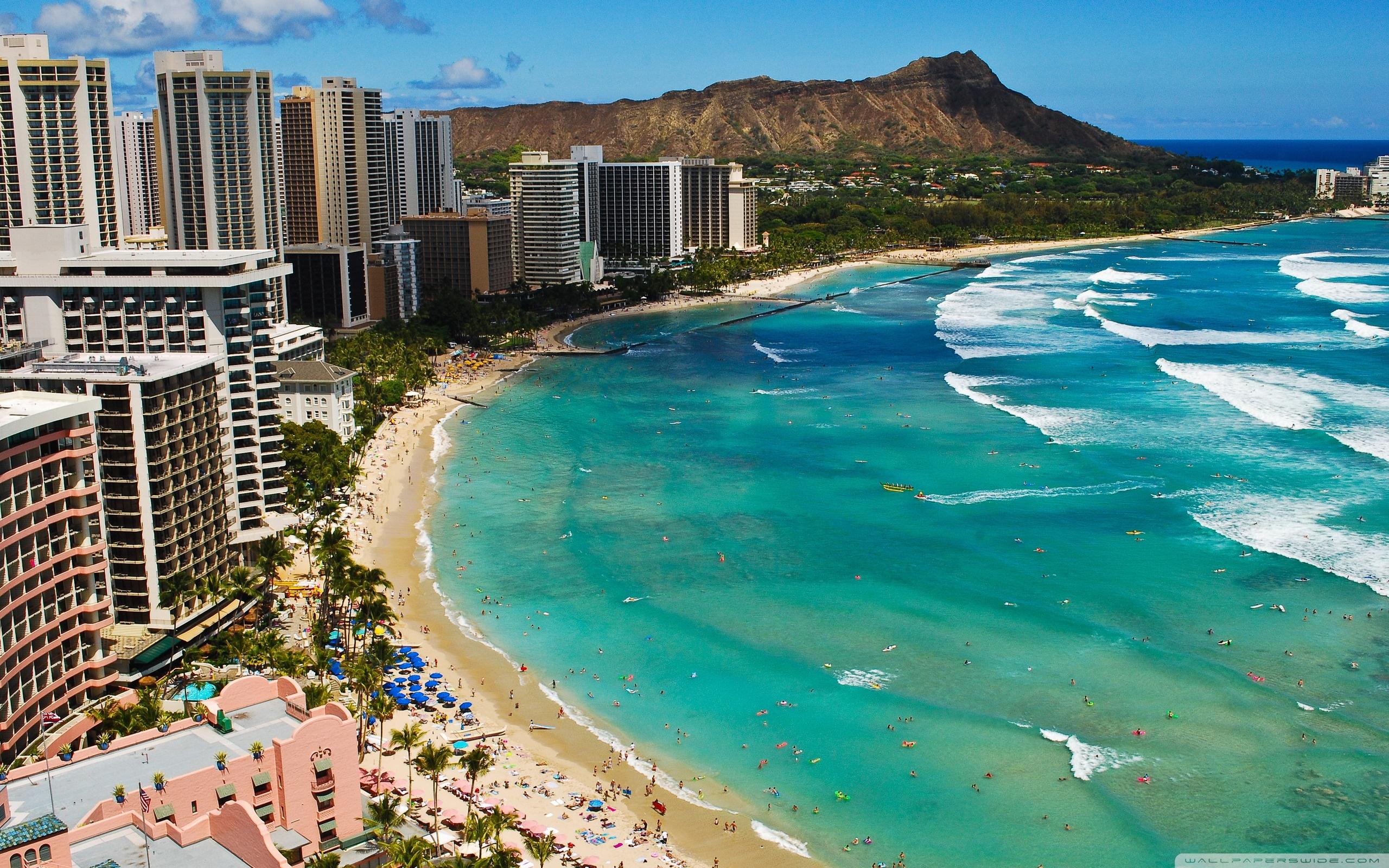 Waikiki Beach 4K HD Desktop Wallpaper for 4K Ultra HD TV Dual 2560x1600