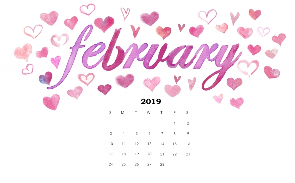 Cute February 2019 Calendar Printable HD Wallpaper Floral Design 1024x635
