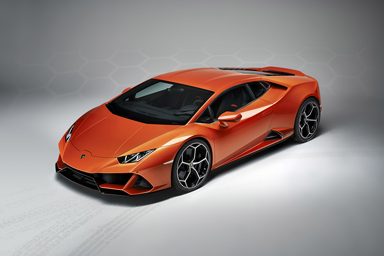Images Lamborghini 2019 Huracan EVO Orange automobile Gray 1280x853