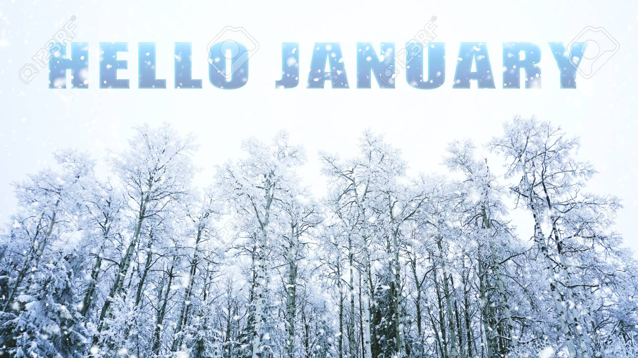 Words Hello January On Winter Background Stock Photo Picture And 1300x731