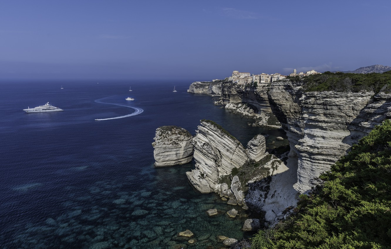 Wallpaper sea rocks coast France yachts France Corsica The 1332x850