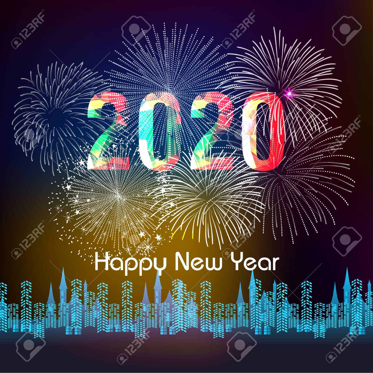 Happy New Year 2020 Background With Fireworks Royalty 1300x1300