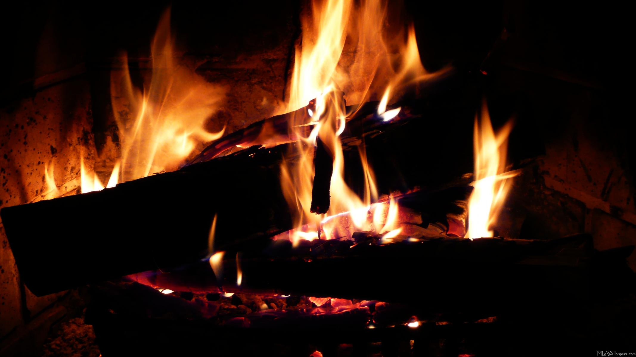 MLeWallpaperscom   Logs in the Fireplace 2134x1200