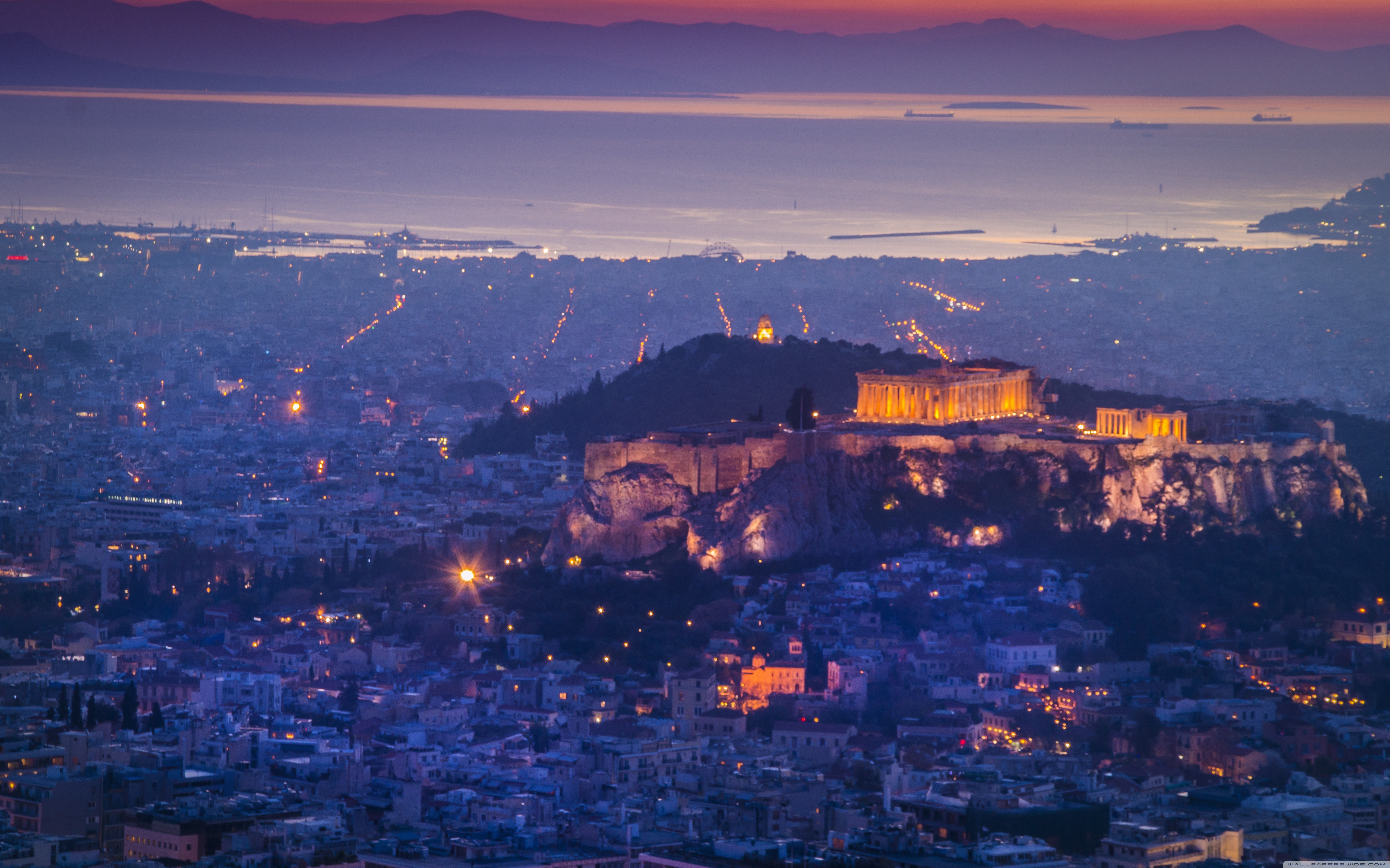 Athens by night 4K HD Desktop Wallpaper for 4K Ultra HD TV 5120x3200