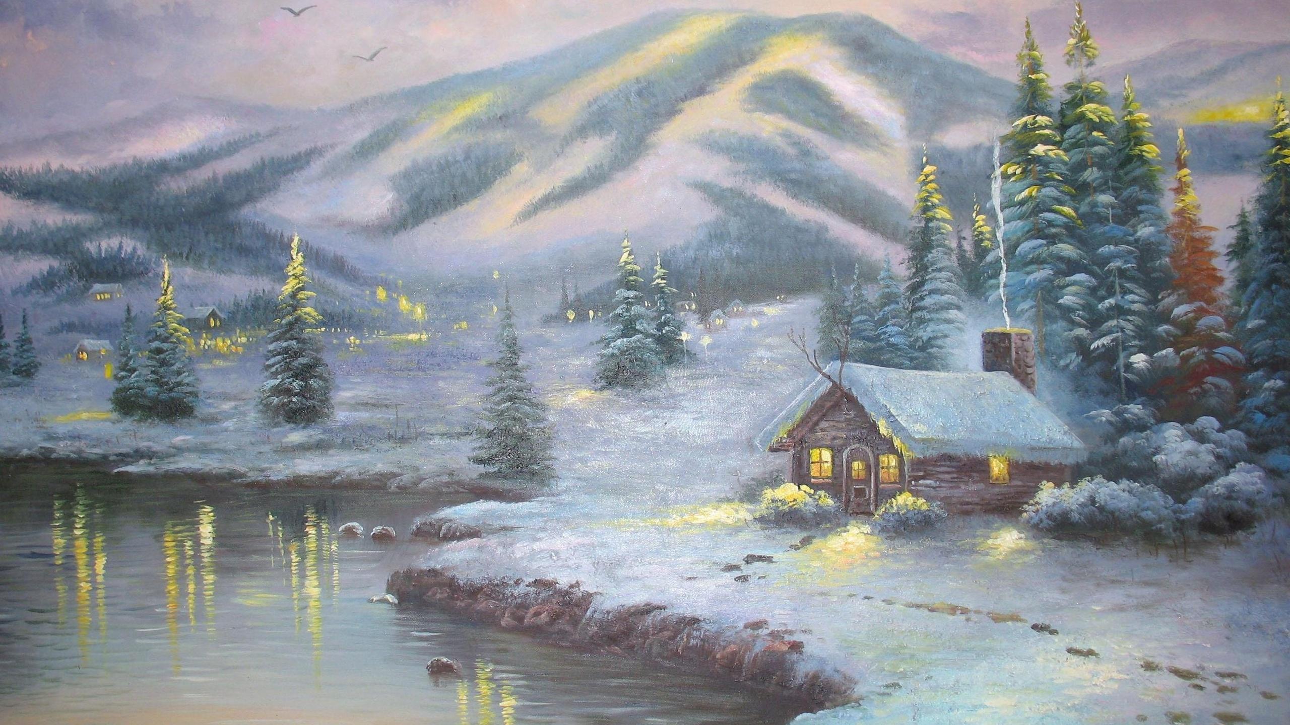 winter cabin desktop wallpaper