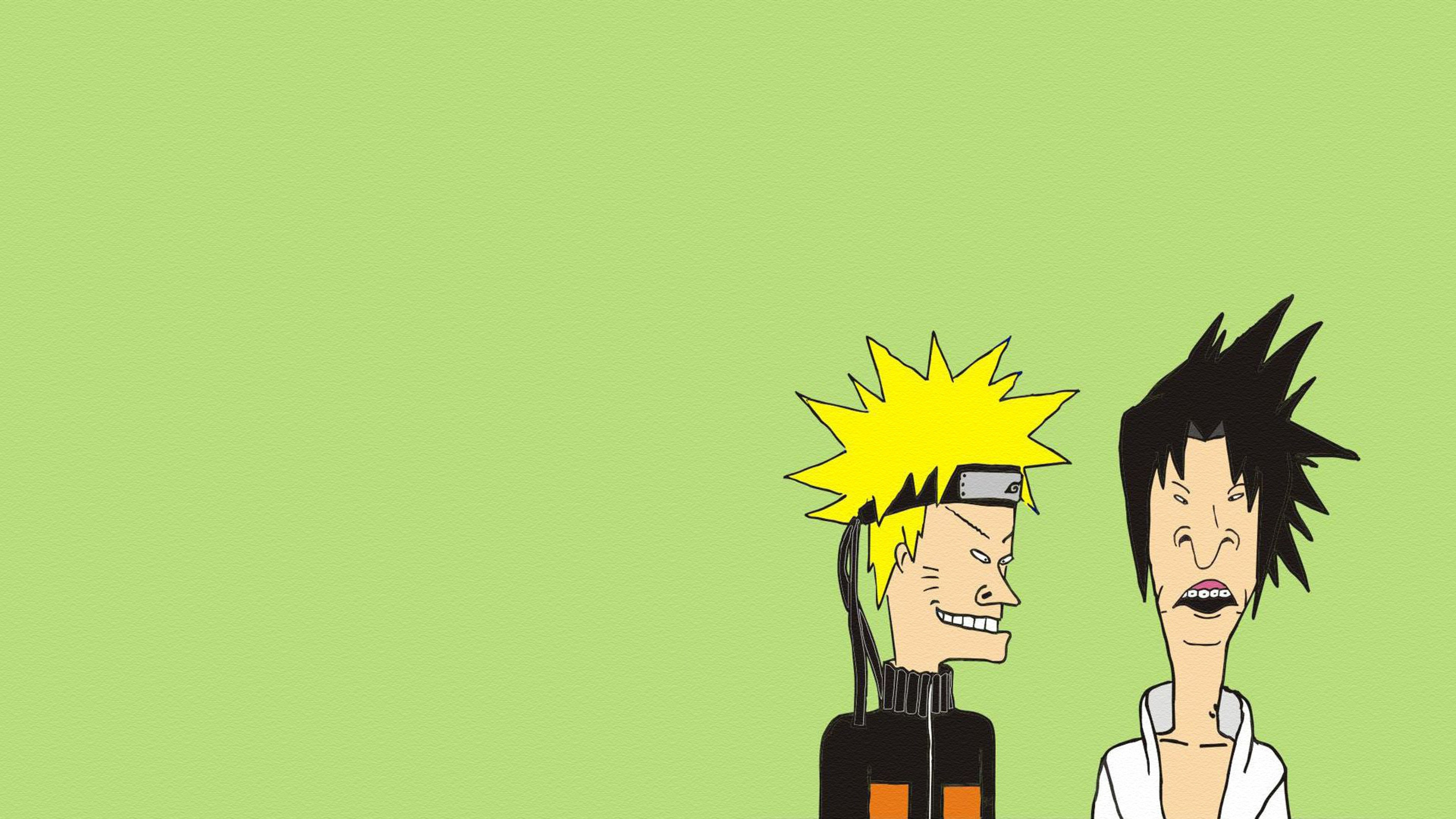 Naruto Beavis and butt head Minimalism Wallpaper Background 4K 3840x2160