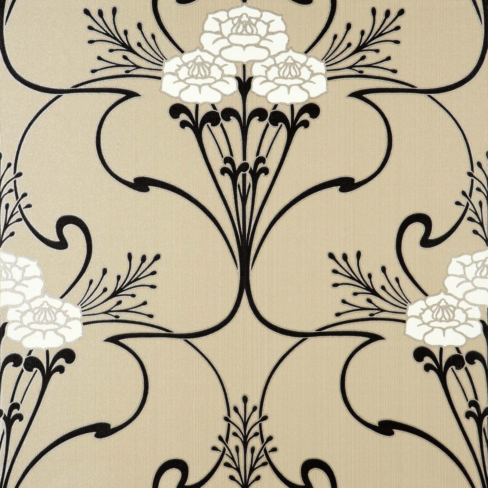 Free Download Flower Vine Art Deco Style Wallpaper In Beige White