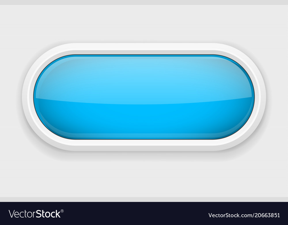 Blue shiny oval button on white matted background Vector Image 1000x780