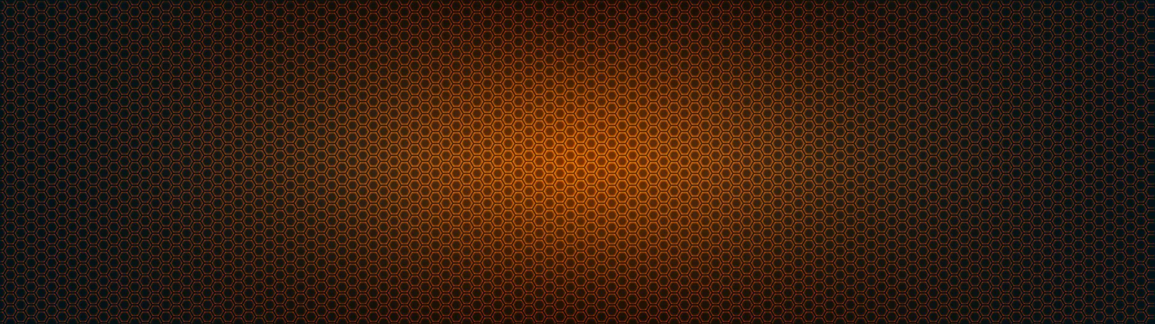 Hexagon Pattern Orange And Black Dual Monitor Wallpaper Pixelz 3840x1080