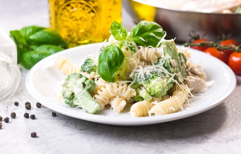 Wallpaper food cheese cabbage broccoli Parmesan pasta Basil 1332x850