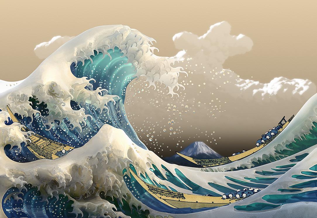 Digital The Great Wave off Kanagawa   Hokusai wallpaper 1084x748