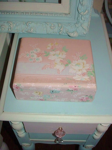 Cigar Box Upcycled Vintage Pink Wallpaper Shabby Chic Storage 480x640