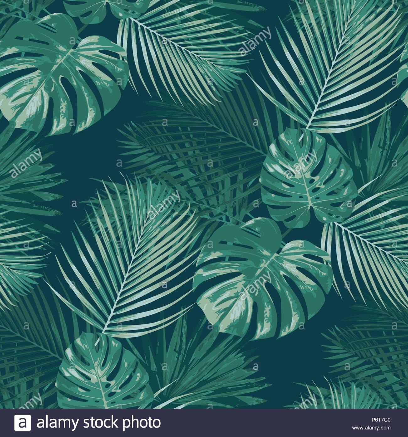 Emerald forest vector seamless pattern tropical background botany 1300x1390