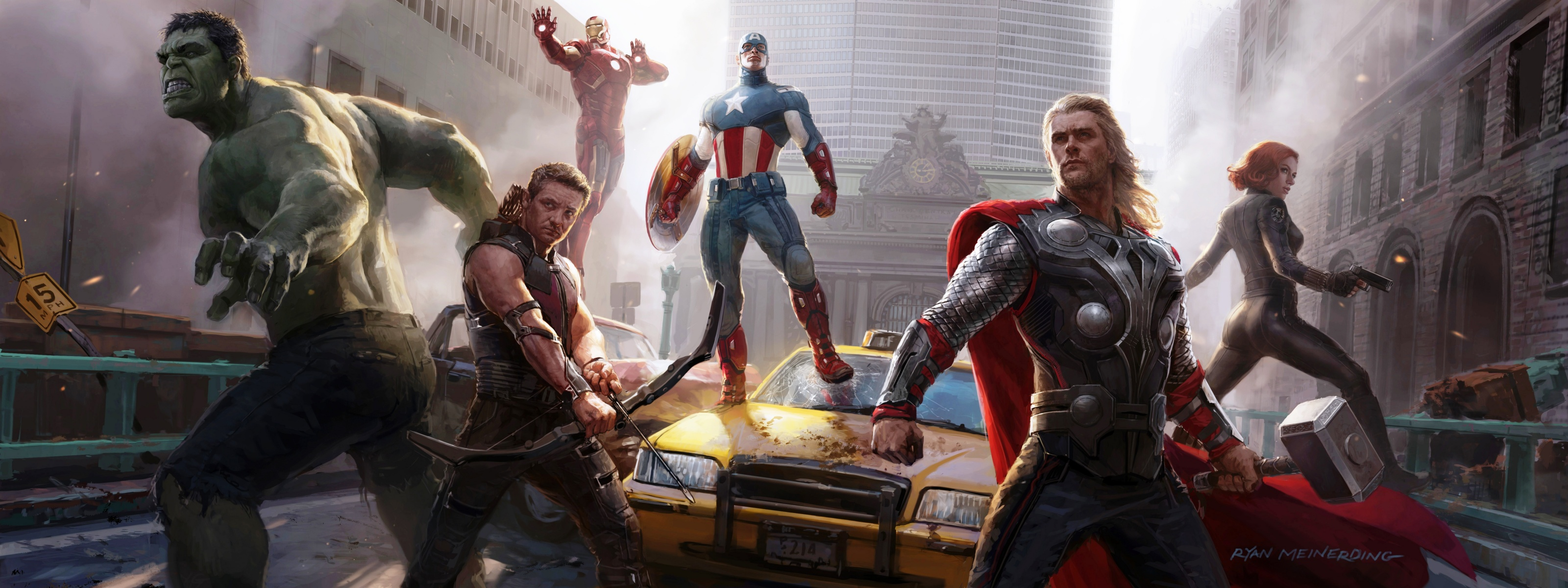 The Avengers Concept Art Wallpapers HD Wallpapers 3200x1200