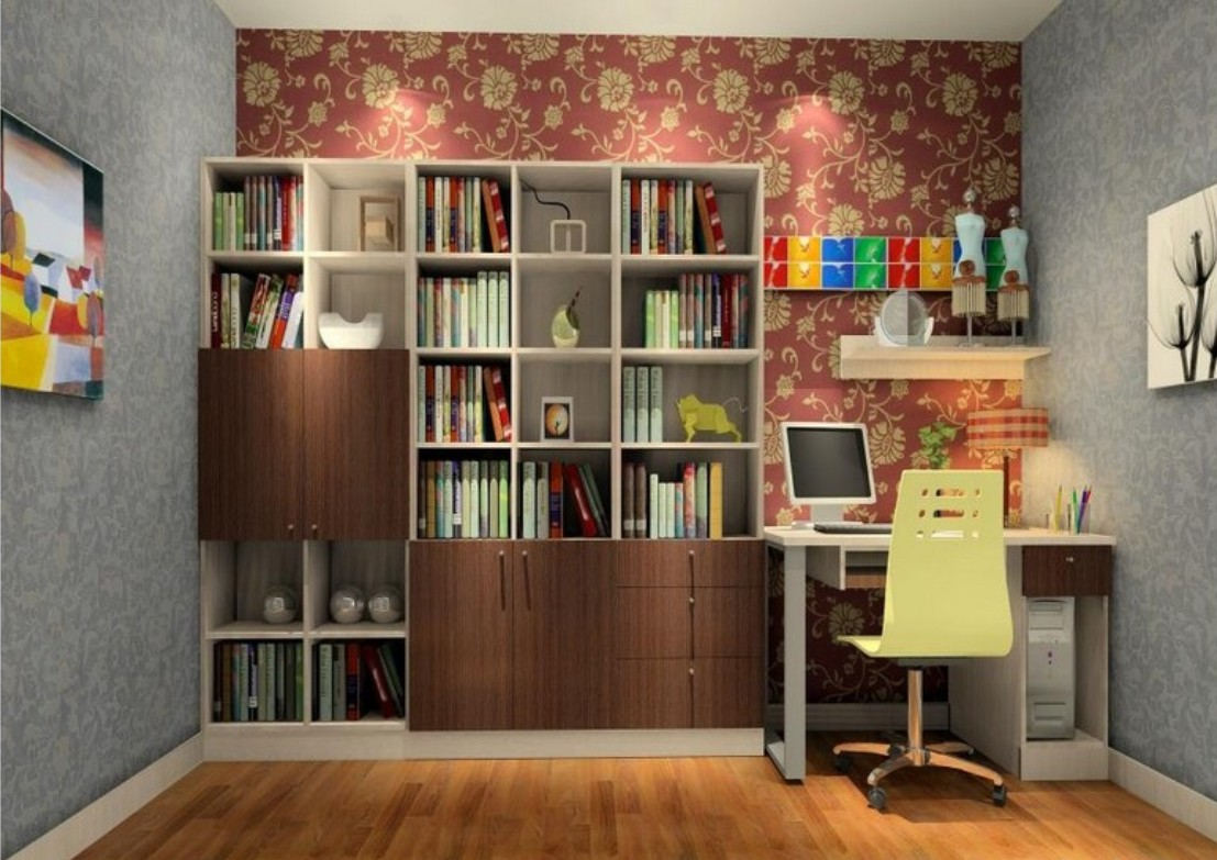 Study decorating ideas flower wallpaper unit 3D House 1107x783