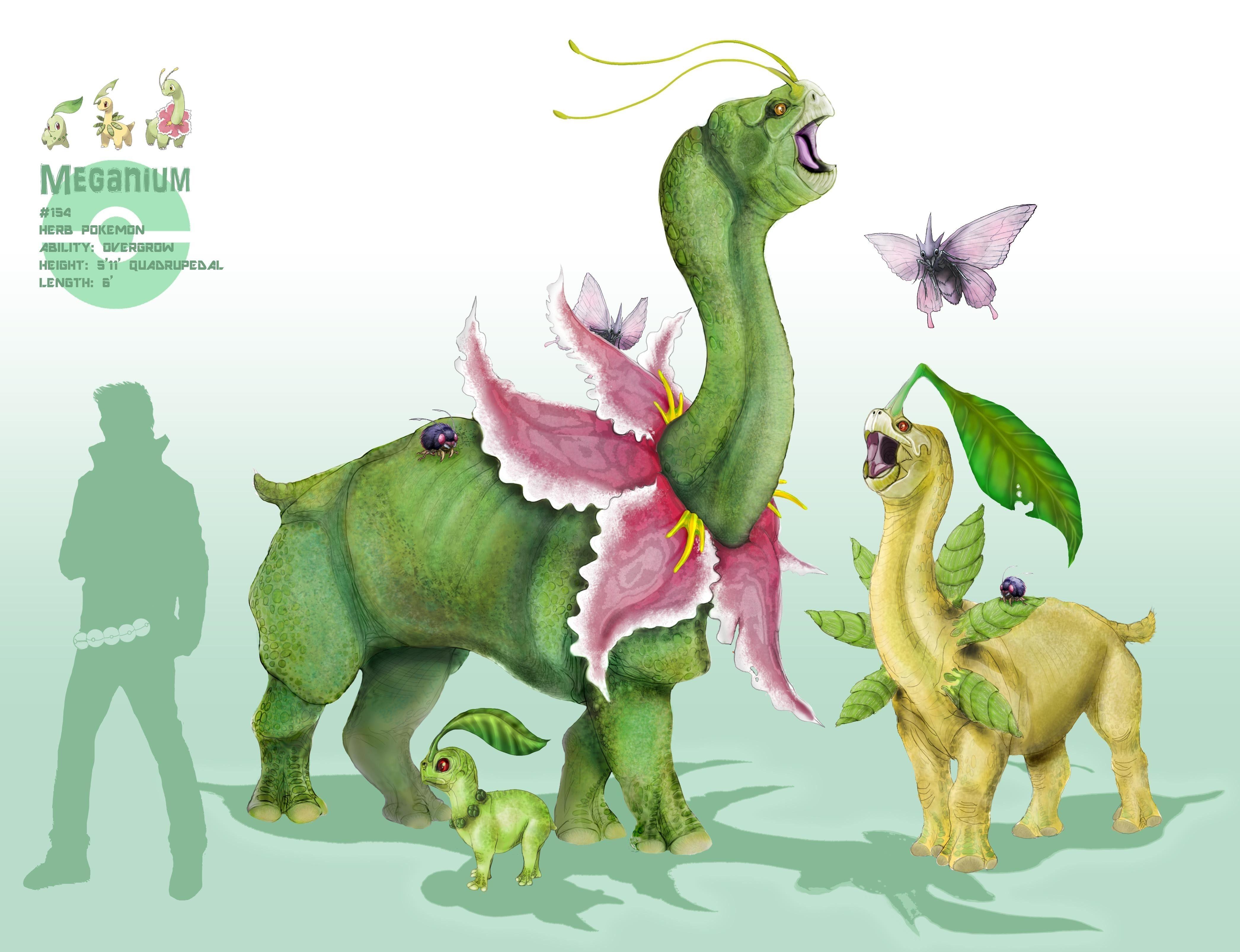 Nintendo pokemon digital art artwork venonat chikorita meganium 4184x3212
