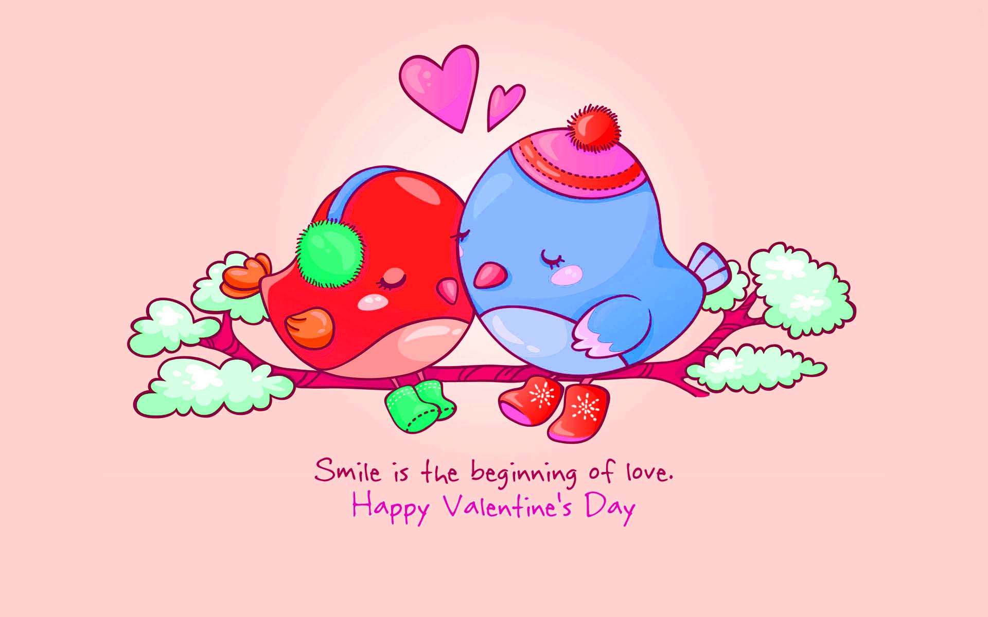 Love Valentine Day Greetings With Cute Love Birds 1920x1200