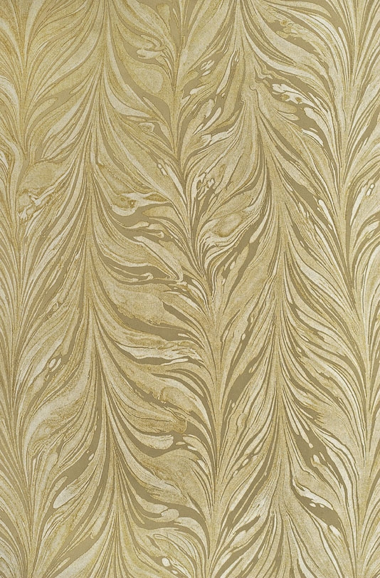 Cream striped marble wallpaper using both mica and matte inks in gold 534x812