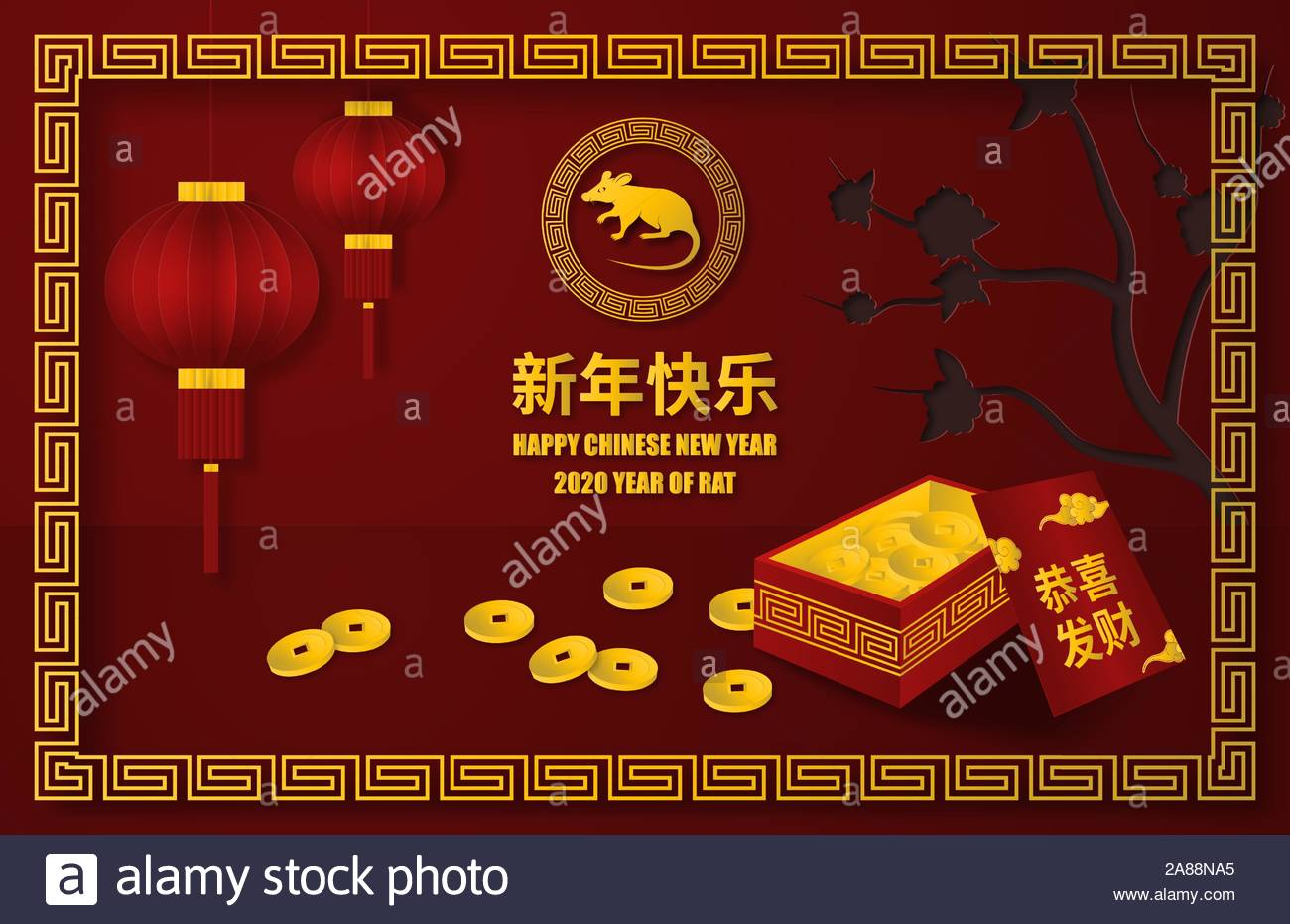 Happy Chinese New Year 2020 background in paper cut style Year of 1300x931