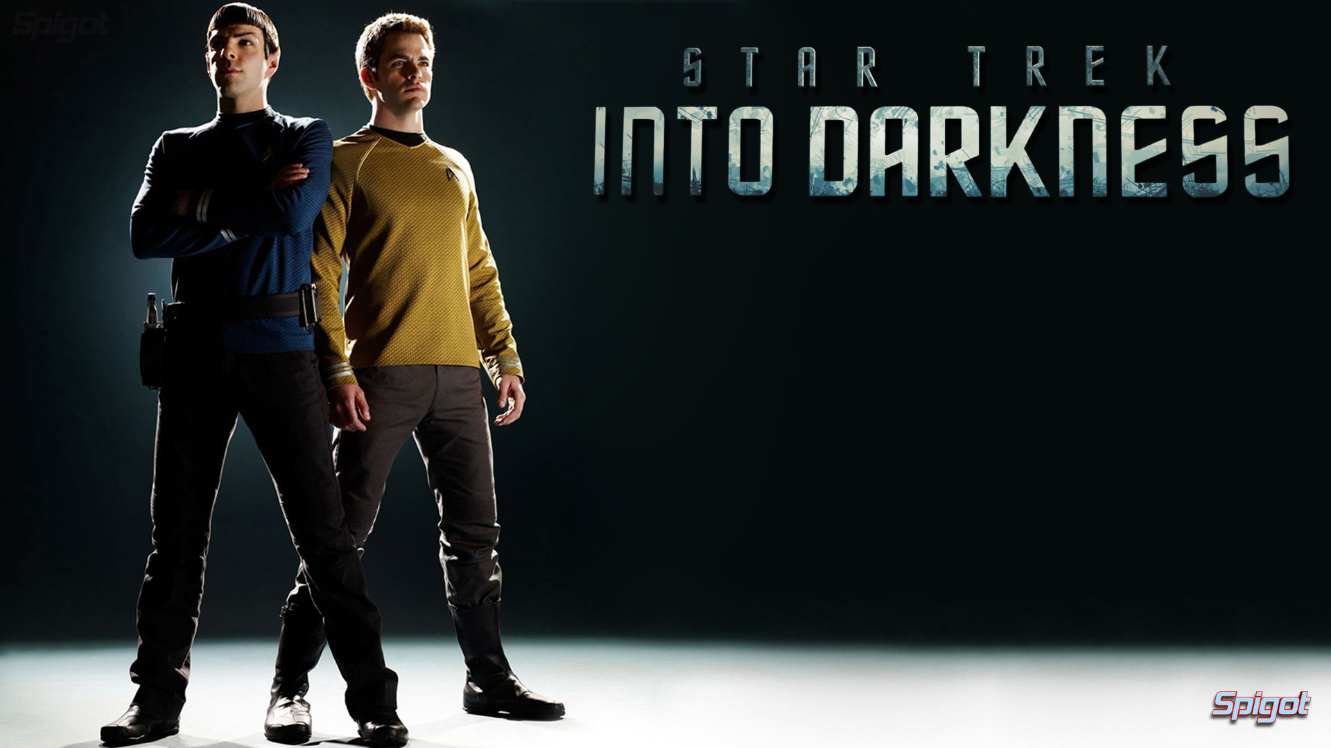 Image text Spock and Kirk Start Trek into Darkness poster] 1920x1080