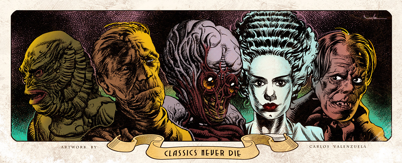 Classic Monsters   Print by Valzonline 1400x570