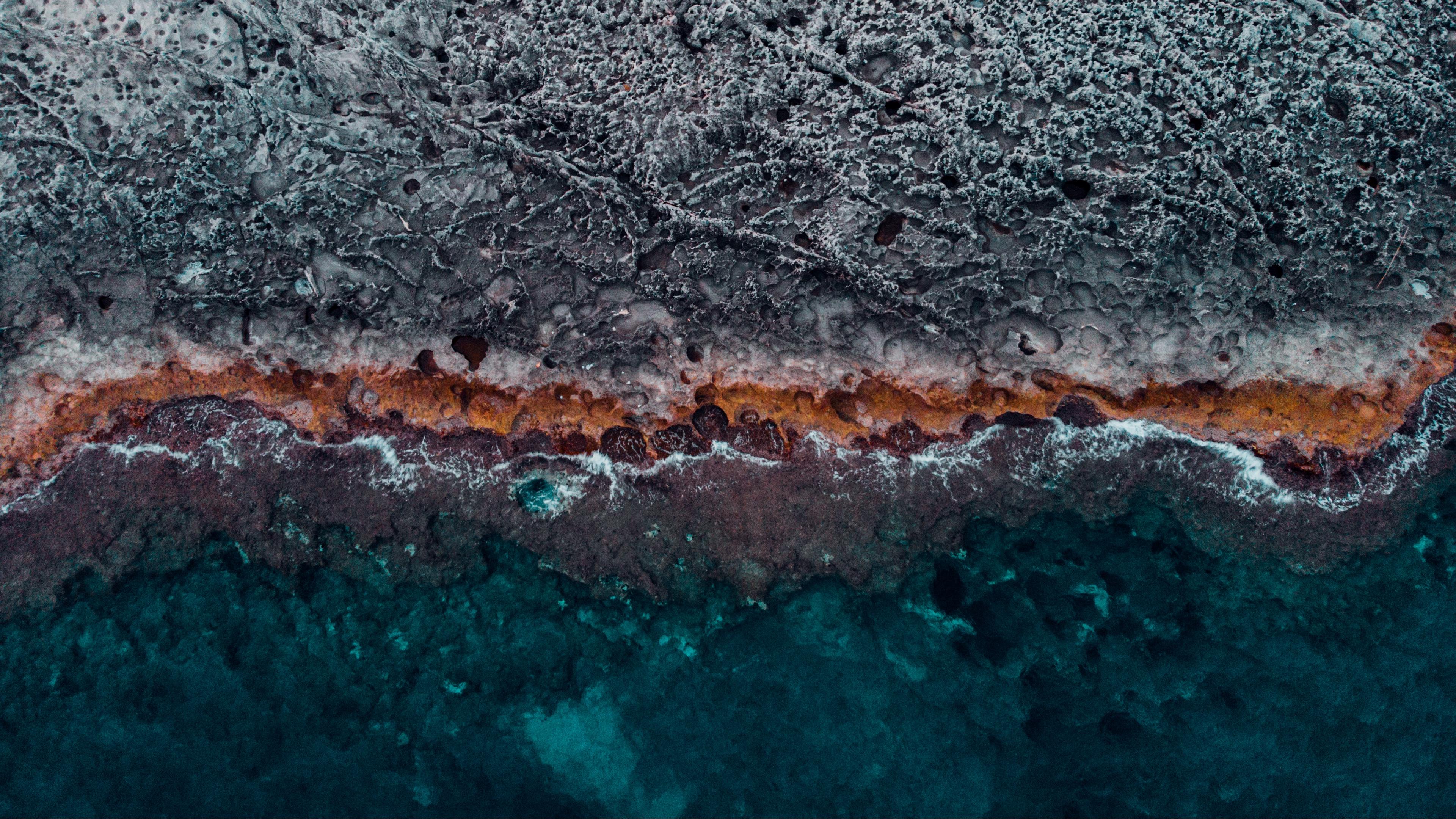 Wallpaper 4k ocean coast aerial view water stones surface 3840x2160
