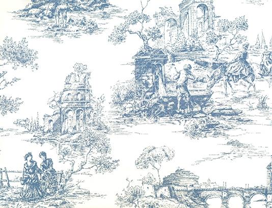 Toile de Jouy Wallpaper Blue White Toile Wallpaper 534x409