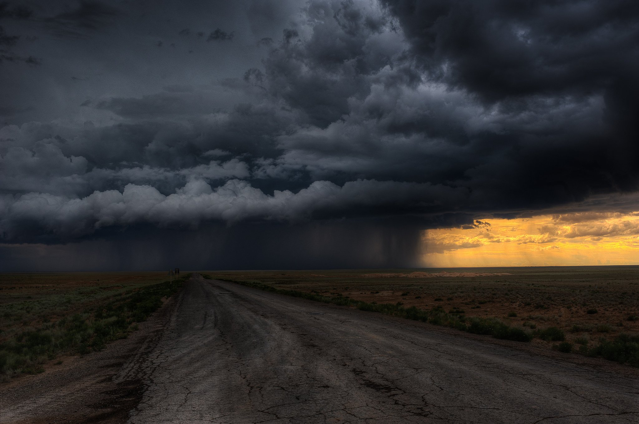 Road clouds field storm rain sky wallpaper 2048x1358 364872 2048x1358