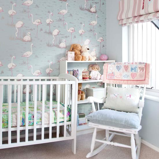 Nursery with soft pastel flamingo wallpaper Bedroom wallpaper and 550x550