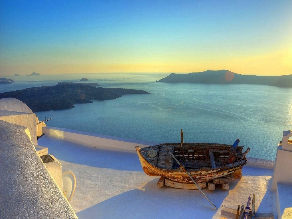 Sunset Over Santorini View Greece Island Hd Wallpaper Andros 1024x768
